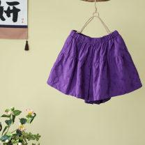 Casual pants Purple, white, black, hemp Average size Summer 2020 shorts Wide leg pants High waist commute Thin money 51% (inclusive) - 70% (inclusive) Other / other hemp literature pocket hemp
