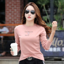 T-shirt White, pink S,M,L,XL,2XL Autumn of 2018 Long sleeves Crew neck Self cultivation routine commute polyester fiber 51% (inclusive) - 70% (inclusive) 30-34 years old Korean version classic Plants, flowers, letters Other / other Printing, flower binding and three-dimensional decoration