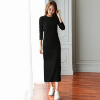 Dress Autumn 2020 S,M,L,XL,2XL,3XL longuette singleton  Long sleeves commute Crew neck Loose waist Solid color Pencil skirt routine Others 35-39 years old Type H AI yiku Simplicity Flocking other cotton
