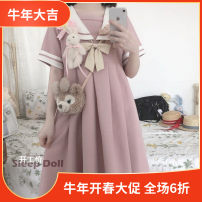Dress Autumn 2020 Blue without bows, pink without bows, Navy without bows, blue with bows, pink with bows, navy with bows S,M,L,XL Mid length dress singleton  Short sleeve routine Three dimensional decoration, bow, stitching