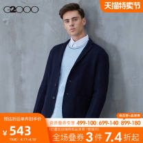man 's suit Dark blue / 78 G2000 Business gentleman routine 44/160 46/165 48/170 50/175 52/180 Wool 95% polyamide 5% Autumn of 2019 Self cultivation Double breasted go to work No slits Same model in shopping mall (sold online and offline)