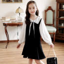 Dress black female Other / other 120cm,130cm,140cm,150cm,160cm Polyester 100% spring and autumn Korean version Long sleeves Solid color cotton A-line skirt Girl's skirt Class B 2, 3, 4, 5, 6, 7, 8, 9, 10, 11, 12, 13, 14 years old Chinese Mainland Guangdong Province Foshan City