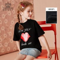 T-shirt black Forest kids 110cm 120cm 130cm 140cm 150cm 160cm 170cm female summer Short sleeve Crew neck There are models in the real shooting nothing cotton other Cotton 100% FGSTR2102 Class B Summer 2021 Chinese Mainland Zhejiang Province Hangzhou