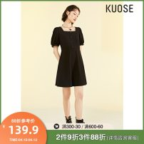 Dress Summer 2021 Black SM stock, XS / L issued on April 23, black spare XS S M L Short skirt singleton  Short sleeve commute square neck Solid color Socket other routine Others 18-24 years old Type A Kuose / wide Korean version Button KSB2103020 More than 95% cotton Cotton 100%