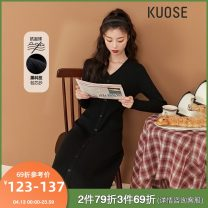 Dress Spring 2021 Comfortable and easy to wear knitted skirt - black spot high level commuter knitted skirt - Black S M L Mid length dress singleton  Long sleeves commute V-neck other Socket A-line skirt routine 18-24 years old Type A Kuose / wide Korean version KSB2010007 30% and below