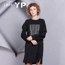 Dress Autumn of 2018 black S M L Middle-skirt singleton  Long sleeves street Crew neck High waist letter Socket A-line skirt routine Others 18-24 years old Type A La paY-P Patchwork print with holes Y36109001 More than 95% brocade cotton Cotton 94.9% polyurethane elastic fiber (spandex) 5.1%