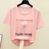 Women's large Summer 2021 White pink fruit green M [80-100 Jin] l [100-120 Jin] XL [120-140 Jin] 2XL [140-160 Jin] 3XL [160-180 Jin] 4XL [180-200 Jin] T-shirt singleton  commute easy moderate Socket Short sleeve Korean version Crew neck routine Ohmdana / odena Other 100% Pure e-commerce (online only)