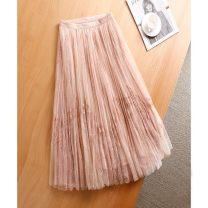 skirt Winter 2020 S,M,L Black, light pink Mid length dress High waist Pleated skirt Type A 25-29 years old A9D38E07 More than 95% UPINLOOK nylon