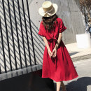 Dress Summer 2020 gules S,M,L Mid length dress Short sleeve commute Crew neck Elastic waist Solid color Socket Big swing Bat sleeve 18-24 years old Type A Other / other Retro 31% (inclusive) - 50% (inclusive) Chiffon