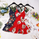 Dress Summer 2021 Red, blue, white Average size Short skirt singleton  Sleeveless commute V-neck High waist Decor zipper Irregular skirt other camisole 18-24 years old Type A Other / other Retro Z877 81% (inclusive) - 90% (inclusive) other other
