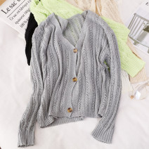Wool knitwear Summer 2021 Average size Apricot, white, black, green, gray Long sleeves singleton  Cardigan other 81% (inclusive) - 90% (inclusive) Regular Thin money commute Self cultivation V-neck routine Solid color Single breasted Simplicity W446 25-29 years old