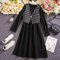 Dress Spring 2021 Black, white Average size longuette Two piece set Long sleeves commute Crew neck High waist lattice Socket A-line skirt routine Others 25-29 years old Other / other W679 81% (inclusive) - 90% (inclusive) other other