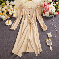Dress Summer 2021 Apricot, black Average size Mid length dress Fake two pieces Long sleeves commute Crew neck High waist Solid color Single breasted A-line skirt routine Others 25-29 years old Type A Other / other Korean version Lace up, asymmetrical W802 91% (inclusive) - 95% (inclusive) other other