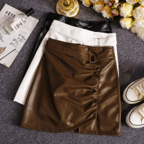 skirt Spring 2021 S,M,L,XL Black, white, brown Short skirt commute High waist A-line skirt Solid color Type A 25-29 years old W766 91% (inclusive) - 95% (inclusive) other Other / other other zipper Korean version
