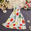 Dress Summer 2021 White, pink, blue, green, black M, L longuette singleton  Sleeveless commute square neck Elastic waist Decor Single breasted other routine camisole 25-29 years old Type A Other / other Korean version W805 81% (inclusive) - 90% (inclusive) other other