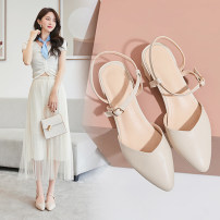 Sandals 33,34,35,36,37,38,39,40,41 Apricot, brown Superfine fiber Shangshang house Baotou Thick heel Middle heel (3-5cm) Summer 2020 Flat buckle Korean version Solid color Adhesive shoes Youth (18-40 years old) rubber daily Front and rear trip strap Low Gang Hollow Microfiber skin Microfiber skin