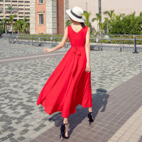 Dress Summer 2020 White, blue, red, black S,M,L,XL,2XL,3XL Mid length dress singleton  Sleeveless Sweet V-neck middle-waisted Solid color Socket Big swing Others 30-34 years old Type X Deming family Bow, tie, zipper More than 95% Chiffon polyester fiber Bohemia