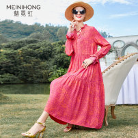 Dress Spring 2021 Red and pink (3 days in advance) M L XL XXL Mid length dress singleton  Long sleeves street stand collar Loose waist Decor Socket A-line skirt routine Others 35-39 years old Type A MEINIHONG N-211-L3143 30% and below other modal  Viscose (viscose) 31% modal (modal) 23% others 46%
