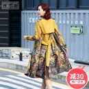 Windbreaker Spring 2021 XS S M L XL XXL Ginger print (with belt) dark red print Long sleeves routine Medium length commute Frenulum Polo collar routine Decor Skirt type Retro Xu Dingxuan 9053# 30-34 years old Pocket lace up print 91% (inclusive) - 95% (inclusive) polyester fiber