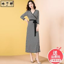 Dress Spring 2020 Milk white + Black S M L XL XXL longuette singleton  Nine point sleeve commute V-neck High waist Decor other other routine Others 30-34 years old Type H Xu Dingxuan lady Asymmetric lace up printing 2635#-236517 91% (inclusive) - 95% (inclusive) knitting polyester fiber