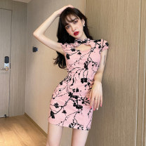 cheongsam Spring 2021 S,M,L,XL Pink, grayish blue Short sleeve Short cheongsam lady No slits daily woman's dress buttoned down from right armpit Decor 18-25 years old Embroidery polyester fiber 51% (inclusive) - 70% (inclusive)