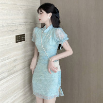 cheongsam Spring 2021 S,M,L Apricot, light green Short sleeve Short cheongsam ethnic style Low slit daily Oblique lapel Solid color 18-25 years old Piping polyester fiber 51% (inclusive) - 70% (inclusive)