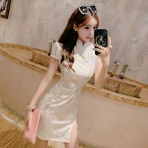 cheongsam Spring 2021 S,M,L White neck, white short sleeves Short sleeve Short cheongsam lady Low slit daily Oblique lapel Decor 18-25 years old polyester fiber 51% (inclusive) - 70% (inclusive)