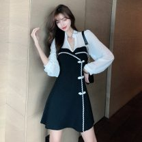 cheongsam Spring 2021 S,M,L,XL black Long sleeves Short cheongsam ethnic style Low slit daily Straight front Solid color 18-25 years old Piping other 51% (inclusive) - 70% (inclusive)