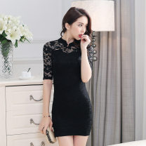 cheongsam Spring 2021 XS,S,M,L,XL black Short sleeve Short cheongsam Retro Low slit daily Oblique lapel Solid color 18-25 years old Other / other cotton 51% (inclusive) - 70% (inclusive)