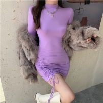 Dress Spring 2021 Purple, black Average size Short skirt singleton  Long sleeves commute Half high collar High waist Solid color Socket One pace skirt routine 18-24 years old Type A Korean version Pleating 51% (inclusive) - 70% (inclusive) polyester fiber