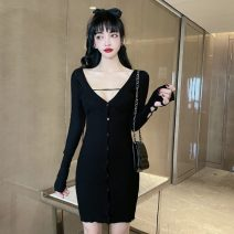 Dress Winter 2020 White, black Average size Short skirt singleton  Long sleeves commute V-neck High waist Solid color Single breasted One pace skirt routine Others Type H Korean version Fold, strap M233 51% (inclusive) - 70% (inclusive) other polyester fiber