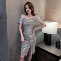 cheongsam Spring 2021 S,M,L,XL,2XL Picture color Short sleeve long cheongsam ethnic style High slit daily Square placket lattice 18-25 years old Piping Other / other other 51% (inclusive) - 70% (inclusive)