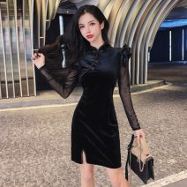 cheongsam Spring 2021 S,M,L black Long sleeves Short cheongsam Retro High slit daily Solid color 18-25 years old 51% (inclusive) - 70% (inclusive)
