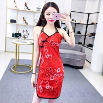 cheongsam Spring 2021 S,M,L,XL Red, pink Sleeveless Short cheongsam ethnic style Low slit daily Oblique lapel Solid color 18-25 years old Piping polyester fiber 51% (inclusive) - 70% (inclusive)