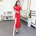 cheongsam Spring 2021 S,M,L Dark blue, red, black Short sleeve long cheongsam ethnic style High slit daily woman's dress buttoned down from right armpit Solid color 18-25 years old 51% (inclusive) - 70% (inclusive)