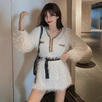 Dress Spring 2021 White, black S,M,L Short skirt other Long sleeves commute V-neck High waist Solid color Socket Princess Dress other Others 18-24 years old Type H Other / other Korean version tassels 51% (inclusive) - 70% (inclusive) other polyester fiber
