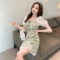 cheongsam Spring 2021 S,M,L,XL Green grid, orange grid Short sleeve long cheongsam ethnic style Low slit daily Square placket lattice 18-25 years old Piping 51% (inclusive) - 70% (inclusive)