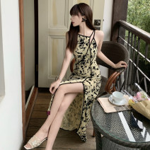 Dress Summer 2021 Picture color S,M,L Mid length dress singleton  Sleeveless commute middle-waisted Socket camisole 18-24 years old Retro 51% (inclusive) - 70% (inclusive)