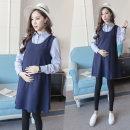 Dress Pretty yunbao M L XL XXL Korean version Long sleeves routine spring Lapel Solid color polyester fiber