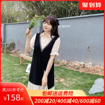 Women's large Summer 2021 Black (pre sold April 24) alternative 2 Black L XL 2XL 3XL 4XL 5XL Dress Fake two pieces commute Straight cylinder moderate Socket Short sleeve Solid color Korean version Polo collar Lotus leaf sleeve Dancing 25-29 years old Middle-skirt Polyester 100%