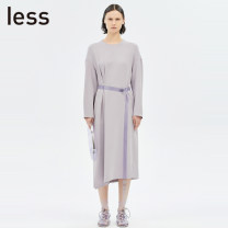 Dress Spring 2020 XS S M L XL Mid length dress singleton  Long sleeves commute Crew neck Loose waist other zipper other routine Others 30-34 years old Type H LESS Simplicity 30% and below Lycra Lycra Viscose fiber (viscose fiber) 97% polyurethane elastic fiber (spandex) 3%