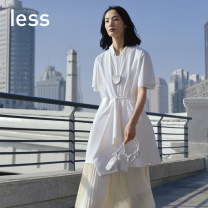 Dress Summer 2020 101 / bleach 410 / Navy XS S M L XL Mid length dress singleton  Short sleeve commute Crew neck Solid color routine 25-29 years old LESS Simplicity 2K4511200- More than 95% other cotton Cotton 95% polyurethane elastic fiber (spandex) 5%