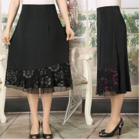skirt Summer of 2019 Small, large Black, brown, black and white, rose red Mid length dress High waist 40-49 years old
