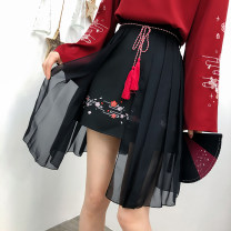 skirt Summer 2020 S,M,L,XL Black, light pink Short skirt Sweet High waist A-line skirt Broken flowers Type A 18-24 years old polyester fiber Tassel, embroidery, fold, lace, gauze, zipper, stitching Mori