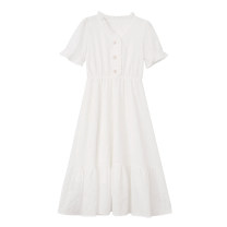 Dress Summer 2021 White, black S,M,L Mid length dress singleton  Short sleeve commute V-neck High waist Solid color Single breasted A-line skirt routine Others Type A Other / other Ruffles, Auricularia auricula, buttons 81% (inclusive) - 90% (inclusive) other other