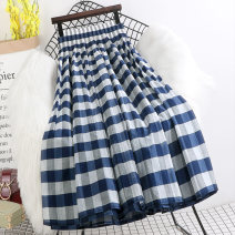 skirt Spring 2021 Average size Royal blue grid, black gray grid longuette Versatile High waist A-line skirt lattice Type A P595 More than 95% other Other / other other 201g / m ^ 2 (including) - 250G / m ^ 2 (including)