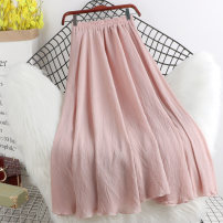 skirt Spring 2021 Average size Mid length dress Versatile High waist A-line skirt Solid color Type A P125 More than 95% other Other / other other fold 201g / m ^ 2 (including) - 250G / m ^ 2 (including)