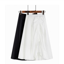 skirt Spring 2021 S, M Black, white, purple, blue Mid length dress commute High waist Irregular Solid color Type A More than 95% Other / other cotton Pleating Korean version