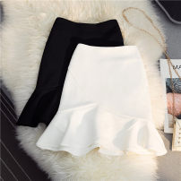 skirt Summer 2021 XS,S,M,L,XL,2XL Black, white, red bean paste Short skirt Versatile High waist Ruffle Skirt Solid color Type A 25-29 years old 30% and below other Other / other other Lotus leaf edge 40g / m ^ 2 and below