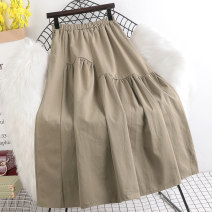 skirt Spring 2021 Average size Khaki, black Mid length dress Versatile High waist A-line skirt Solid color Type A HP846 More than 95% other Other / other other Fold, splice 201g / m ^ 2 (including) - 250G / m ^ 2 (including)